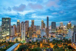 Bangkok night view in business district, Thailand. Bangkok skyscraper.